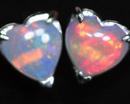 CRYSTAL OPAL HEART  EARRINGS IN 10 K GOLD [SOJ6760]+SJ