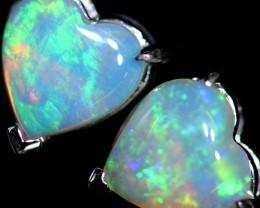 CRYSTAL OPAL HEART  EARRINGS IN 10 K GOLD [SOJ6765]+SJ