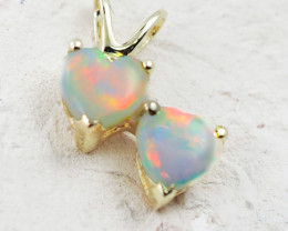 Gem Quality Double Heart 9K Yellow Gold Opal Pendant - OPJ 2297