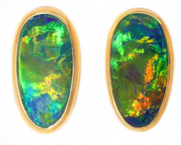 14K GOLD Opal Doublet LIGHTNING RIDGE PIERCE EARRINGS [CE12]