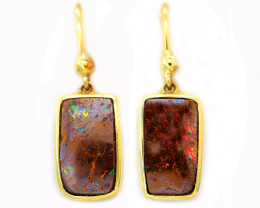 14K GOLD BOULDER OPAL PIERCE EARRINGS  [CE15]
