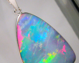 Silver Opal Pendant Large  Australian Natural Inlaid Doublet 14ct