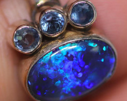 BLACK OPAL AND AUSTRALIAN SAPPHIRE RING  7 -[SOJ4812 ]3