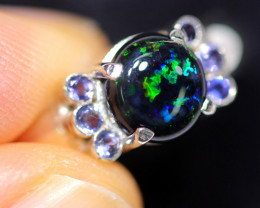 8.5 RING SIZE OPAL + TANZANITE RING SILVER-FACTORY3 [SOJ2967]