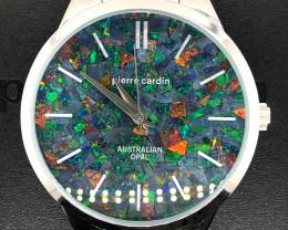 Original Mens Silver Opal Watch Mosiac Opal - WO 15