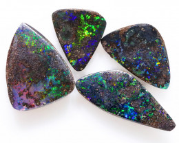 31CTS 3pcs BOULDER OPAL POLISHED STONE FLASHES OF ELECTRIC COLOUR - S1255