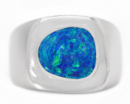 925 ST/ SILVER RHODIUM PLATED DOUBLET OPAL RING [CR70]