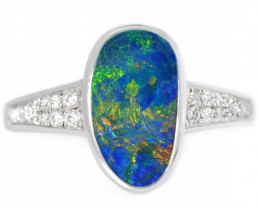 925 ST/ SILVER RHODIUM PLATED DOUBLET OPAL RING [CR74]
