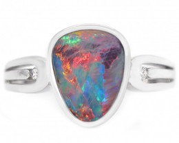 925 ST/ SILVER RHODIUM PLATED DOUBLET OPAL RING  [CR71]