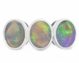 925 ST/ SILVER RHODIUM PLATED SEMI BLACK OPAL RING [CR72]