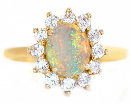 925 ST/ SILVER RHODIUM PLATED COOBER PEDY OPAL RING [CR]