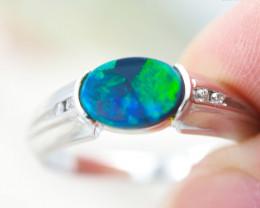 Opal Quality 18K White Gold  Black Opal Ring - OPJ 2566