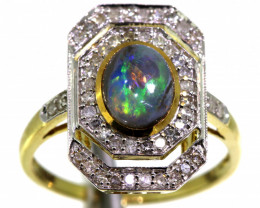 15.45CTS SOLID OPAL DIAMOND 14K GOLD ART DECO RING OF-1930