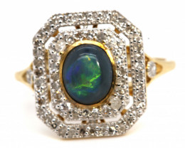 14.55CTS SOLID OPAL DIAMOND 14K GOLD ART DECO RING OF-1936