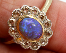 11.85CTS SOLID OPAL DIAMOND 14K GOLD ART DECO RING OF-1935