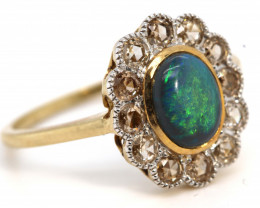 11.80CTS SOLID OPAL DIAMOND 14K GOLD ART DECO RING OF-1929