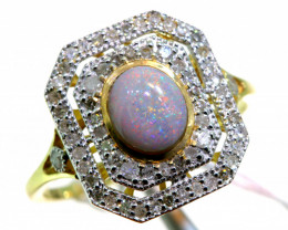 14.25CTS SOLID OPAL DIAMOND 14K GOLD ART DECO RING OF-1925