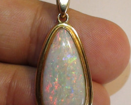 23.95 ct 18k Solid Yellow Gold Coober Pedy Crystal Opal Pendant