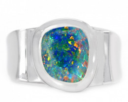 925 ST/ SILVER RHODIUM PLATED DOUBLET OPAL RING [CR78]
