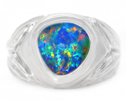 925 ST/ SILVER RHODIUM PLATED DOUBLET OPAL RING [CR76]
