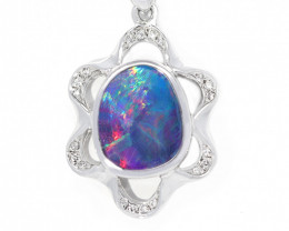 Opal Doublet LIGHTNING RIDGE 925 Silver Rhodium Plated Pendant [CP105]