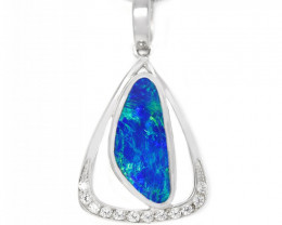 Opal Doublet LIGHTNING RIDGE 925 Silver Rhodium Plated Pendant [CP108]