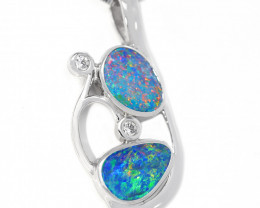 Opal Doublet COOPER PEDY  925 Silver Rhodium Plated Pendant [CP106]