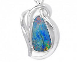 Opal Doublet COOPER PEDY 925 Silver Rhodium Plated Pendant [CP109]