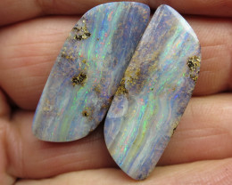 45cts, QUEENSLAND BOULDER OPAL~PAIR.
