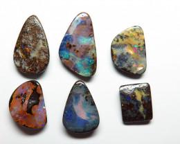 37.04ct Queensland Boulder Opal 6 Stone Parcel