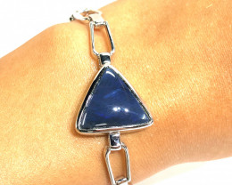 Black opal ,blue hues ,set in sterling silver bracelet OPJ 2558