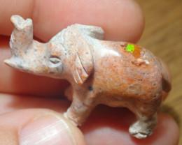 51.48ct Elephant Figurine Mexican Matrix Cantera Multicoloured Fire Opal