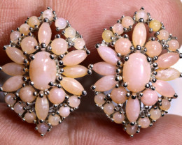 39.25  CTS PERU PINK OPAL EARRING SILVER    0F-191