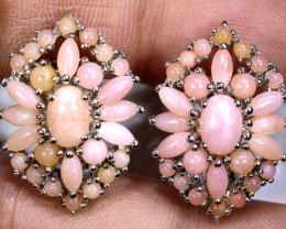 37.70  CTS PERU PINK OPAL EARRING CLUSTER-SILVER    0F-193