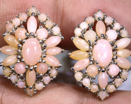 39.50  CTS PERU PINK OPAL EARRING CLUSTER-SILVER    0F-195