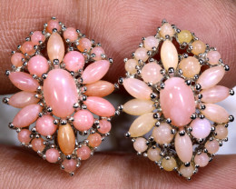 37.45 CTS PERU PINK OPAL EARRING CLUSTER-SILVER     0F-197