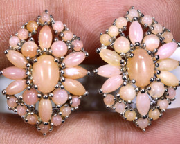 38.65  CTS PERU PINK OPAL EARRING CLUSTER-SILVER    0F-198