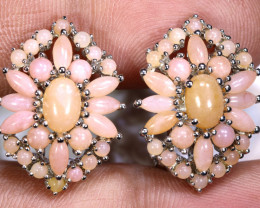 37.15 CTS  PERU PINK OPAL EARRING CLUSTER-SILVER     0F-199