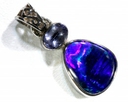 10.30 CTS    SOLID OPAL TANZANITE SILVER PENDANT OF-109