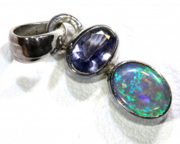 6.5 CTS  BLACK OPAL  SILVER PENDANT OF-122