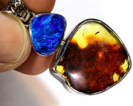 34 CTS   DOUBLET -AMBER SILVER PENDANT OF-142