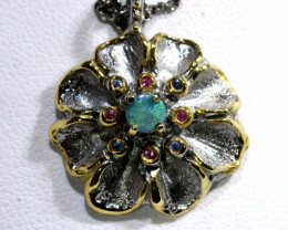 29.35 CTS UNIQUE DESIGN DOUBLET OPAL SILVER PENDANT  OF-163