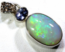 18  CTS SOLID DARK OPAL  SILVER PENDANT   OF-174