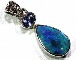 10.50   CTS  BLACK OPAL  SILVER PENDANT  OF-175