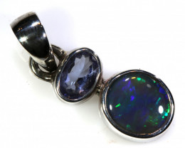 7.70  CTS  BLACK OPAL  SILVER PENDANT   OF-176