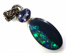 12.75   CTS  BLACK OPAL  SILVER PENDANT OF-178