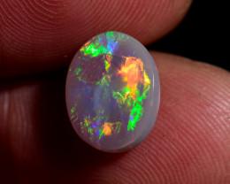 2.20 carat Oval Lightning Ridge semi black opal super bright broad flash fi