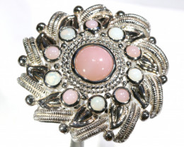 63.35 CTS  PINK PERU OPAL RING  SILVER  SIZE-7  OF-2623