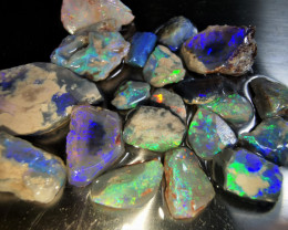 Rough Opal Lot 122.10 cts 21 pcs Black Opals Lightning Ridge BORA1181119