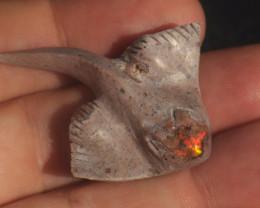 35ct  Stingray Gemmy Matrix  Fire Opal Stone Carved